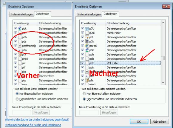 Unter Windows 7 x64 muss der iFilter für PDF explizit installiert werden.