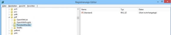 Hier ist der Bezug zum Persistent Handler für PDF verloren gegangen, der Wert für (Standard) ist leer.