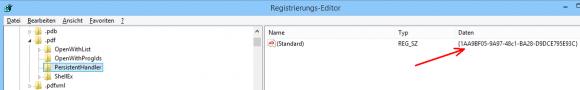 Nach der Reparatur des Registry-Eintrags sollte der Wert für den Pesistent Handler so aussehen.