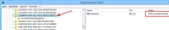 Suche nach der GUID des Persistent Handler für PDFs in der Registry