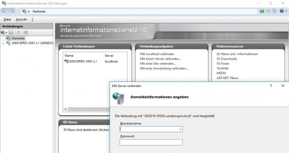 Am entfernten Server anmelden im IIS-Manager