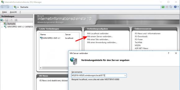 IIS-Manager mit einem Remote-Server verbinden