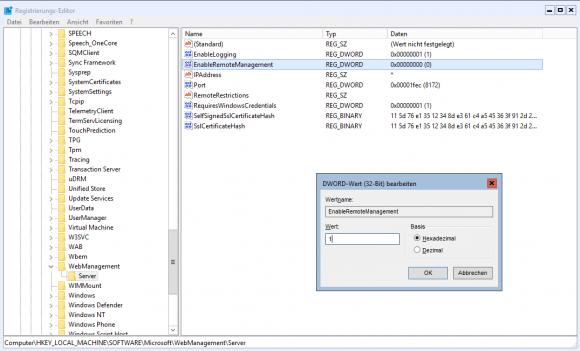 Unter Server Core muss man das Reomte-Management der IIS direkt in der Registry aktivieren.