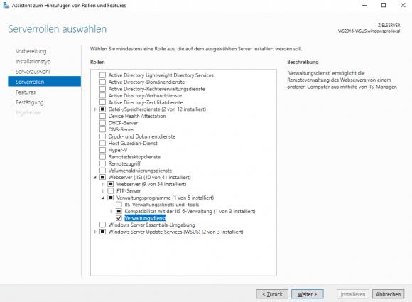 Hinzufügen des IIS-Verwaltungsdienstes über den Server Manager