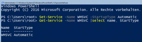 Starttyp für den IIS-Verwaltungsdienst auf automatisch setzen mit PowerShell