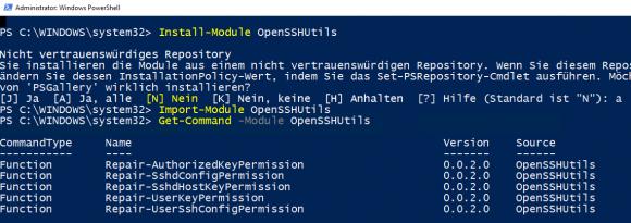 OpenSSHUtils über das Package Management von PowerShell installieren