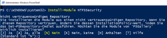 Installation von NTFSSecurity über das PowerShell Package Management