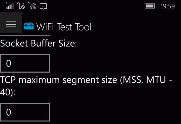 Die UWP App erlaubt eine bequeme Eingabe der Parameter.