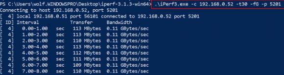 iPerf im Client-Modus unter Windows