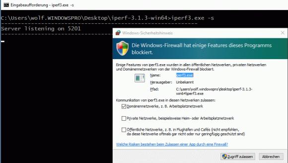 Öffnen der Windows-Firewall für iPerf