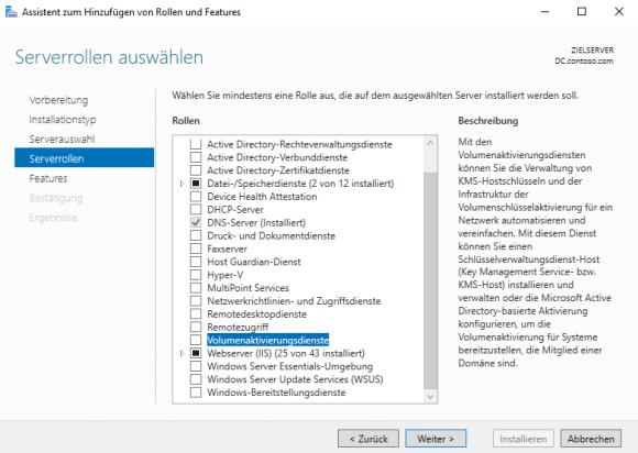 Die Rolle Volumenaktivierungsdienste mit dem Server Manager hinzufügen.