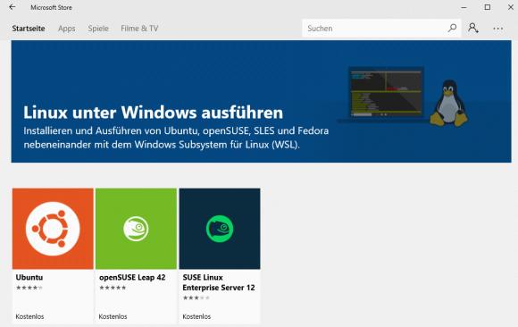 Linux für Windows kann über den Store auf x64-Versionen des OS nachinstalliert werden.