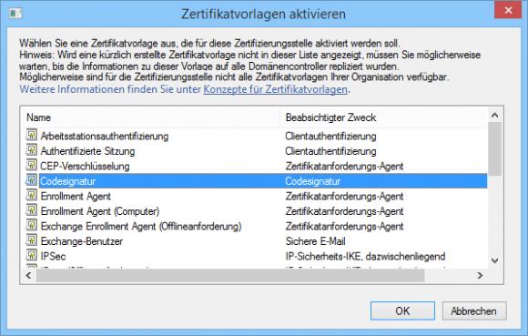Die Zertifikatvorlage für Code-Signierung aktivieren