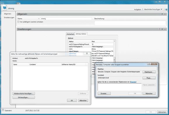 Das im ADSI-Editor angelegte Regelwerk kann man in AD-Verwaltungscenter den Usern und Gruppen zuordnen.