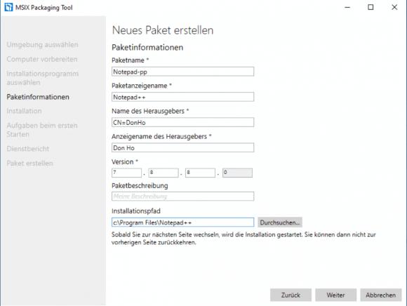 Repackaging von Anwendungen mit dem MSIX Packaging Tool am Beispiel von Notepad++.