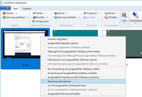 Das Kontextmenü eines verbundenen Rechners zeigt, welche MultiPoint-Befehle verfügbar sind.