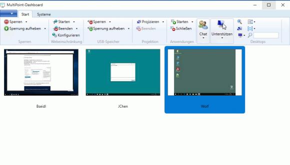 PCs mit installiertem Connector lassen sich zentral steuern, ohne dass sie eine RDP-Verbindung mit dem MutiPoint Server aufbauen