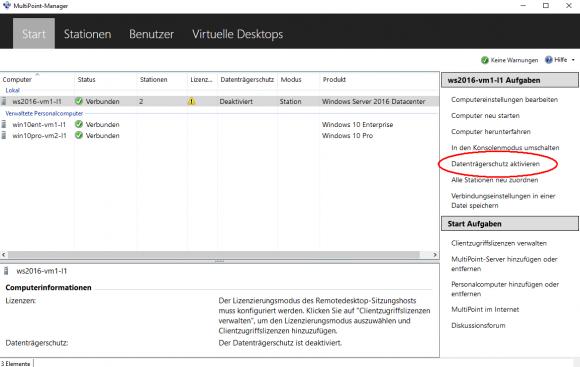 Der Datenträgerschutz verwirft alle Änderungen auf dem MultiPoint Server.