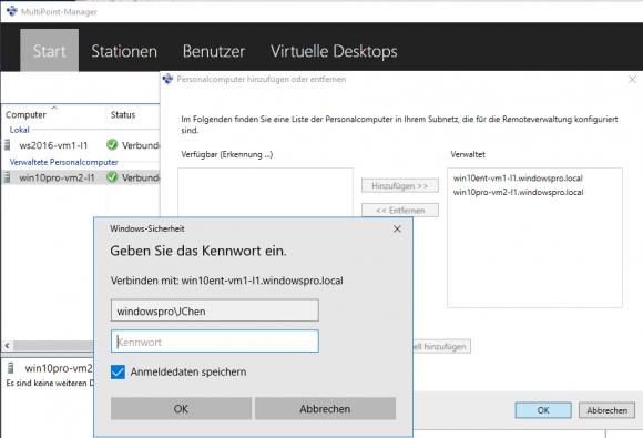 Nach der Installation des Connectors tauchen PCs im MultiPoint Manager auf und lassen sich hinzufügen.