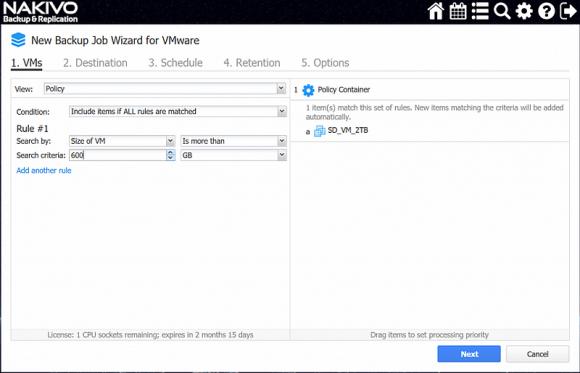 Auswahl von VMs für Backup-Jobs anhand von Filtern