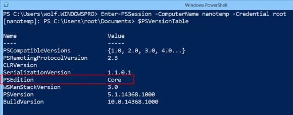Der Nano Server enthält die Core Edition von PowerShell