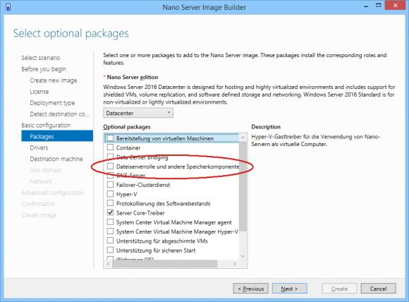 Dateiserverrolle bei der Installation von Nano Server hinzufügen