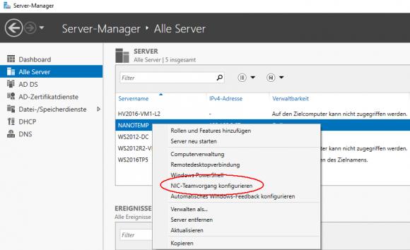 Der Server Manager zeigt auch Features, die der Nano Server nicht unterstützt.
