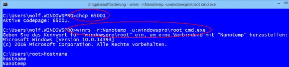 Über WinRS lässt sich auch noch der alte Kommandointerpreter auf dem Nano-Server starten.