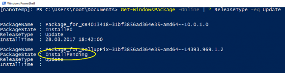 Überprüfen der installierten Updates mit Hilfe von Get-WindowsPackage