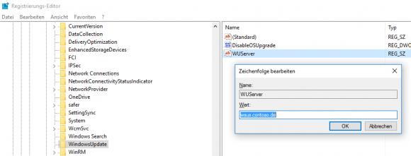 Nachdem regedit.exe auf Nano nicht zur Verfügung steht, trägt man die Werte für WSUS mit PowerShell ein.