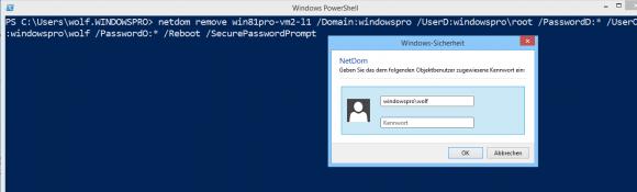 Passworteingabe für netdom, um den Computer aus der Domäne zu entfernen.