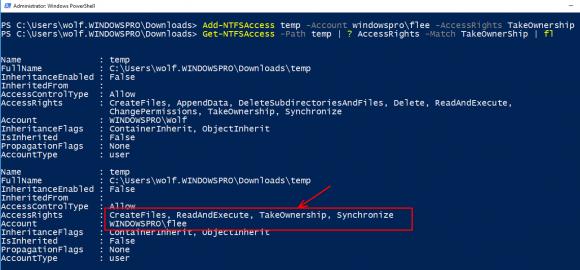 User flee Recht auf Besitz eines Verzeichnisses gewähren mit Add-NTFSAccess