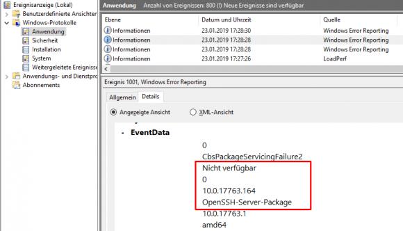 Log-Eintrag nach dem Scheitern der OpenSSH-Server-Installation in WSUS-Umgebungen