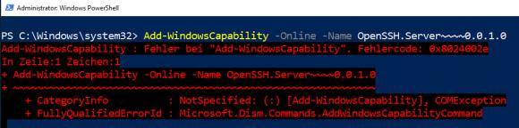 Fehler bei der Installation von OpenSSH als optionales Feature in WSUS-Umgebungen
