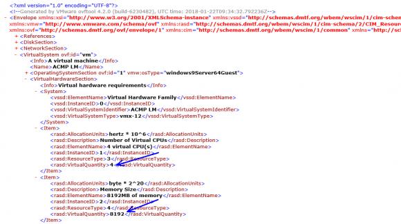 Die Angaben zu RAM und CPUs finden sich in der .ovf-Datei im Abschnitt VirtualHardwareSection.