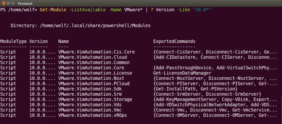 Anzeigen der Module von PowerCLI in der Version 10.0