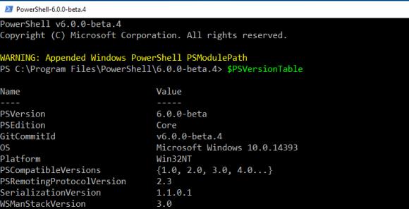Der Pfad zu den vorhandenen Modulen von Windows PowerShell wird automatisch eingebunden.