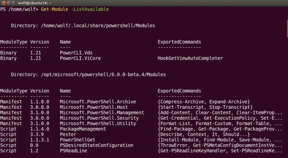 Eingebaute Module von PowerShell 6 Core unter Ubuntu