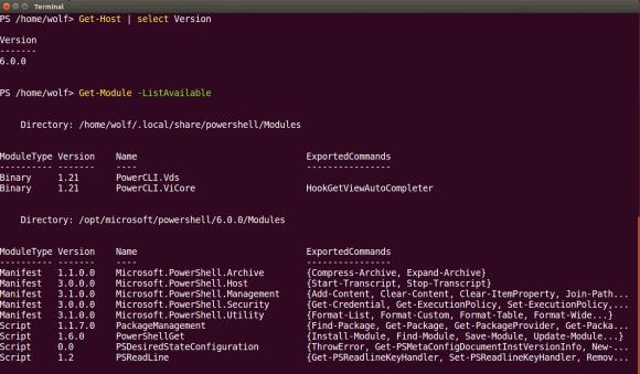 Der Funktionsumfang von PowerShell Core unter Linux (hier Ubuntu) ist noch überschaubar.