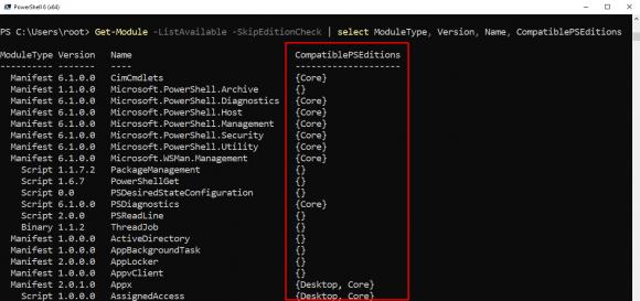 Get-Module zeigt nun auch an, unter welchen Editionen von PowerShell ein Modul einsetzbar ist.