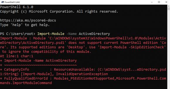 Der Import des Moduls für Active Directory führt aktuell zu einer Fehlermeldung.