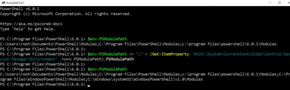 Modulpfad von PowerShell Core erweitern, so dass er die Verzeichnisse für die Module von Windows PowerShell enthält.