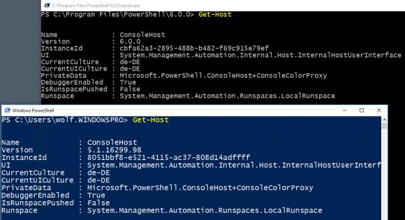 PowerShell Core und Windows PowerShell können auf einem Rechner koexistieren.