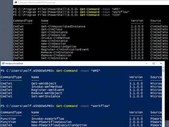 Die Cmdlets für Workflows und WMI fehlen in PowerShell Core, jene für CIM sind vorhanden.