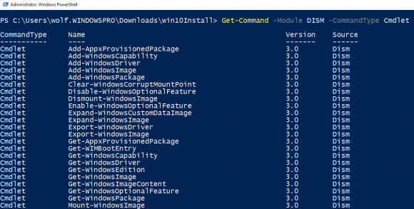 Das DISM-Modul von PowerShell enthält insgemsat 39 Cmdlets.