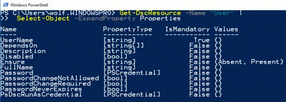 Get-DscResource zeigt hier die Einstellungen für die Ressource User an. Ensure darf die Werte Absent oder Present annehmen.