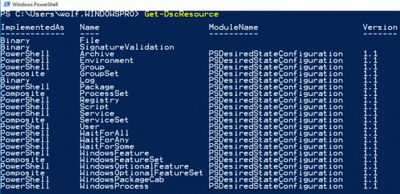 Get-DscResource gibt eine Liste aller in Windows enthaltenen Ressourcen aus.