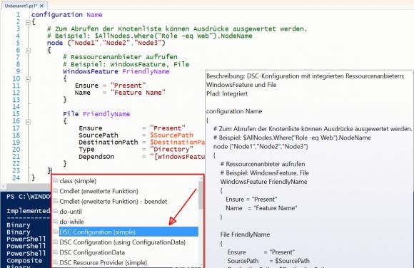 Skelett für einfache Configuration in der PowerShell ISE einfügen