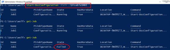 Start-DscConfiguration erzeugt standardmäßig einen Hintergrund-Job, so dass man über auftretende Fehler nicht viel erfährt.