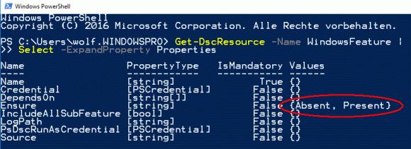 Eigenschaften der Ressource WindowsFeature